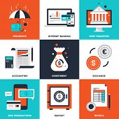foto of sms  - Vector set of flat banking and finance icons on following themes  - JPG