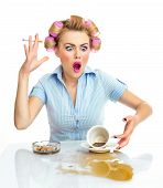 stock photo of racy  - Angry or agressive funny woman with cigarette and spilled coffee - JPG