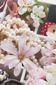 picture of mother-of-pearl  - apple tree and magnolia  flowers with pearls and vintage lace  - JPG