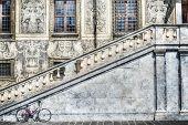 pic of stairway  - bicycle by an historic stairway in Pisa Italy - JPG
