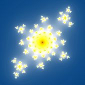 stock photo of mandelbrot  - Fractal floral pattern texture on blue background - JPG