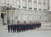 Soldiers Parade Outside Palacio Real Madrid, Spain