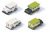 picture of armored car  - Isometric bank armored truck front end rear view - JPG