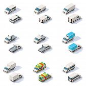 stock photo of rear-end  - Set of the different types of isometric vans - JPG