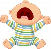 stock photo of cry  - Vector illustration of Cartoon baby boy crying - JPG