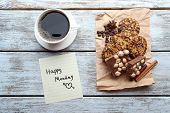 foto of monday  - Cup of coffee with fresh cookies and Happy Monday massage on wooden table - JPG