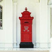 picture of postbox  - Thailand red postbox style antique carvings on Phuket Old Town - JPG