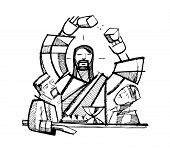 stock photo of jesus  - Hand drawn vector illustration or drawing of Jesus Christ Sharing Eucharist Bread with two of his disciples - JPG