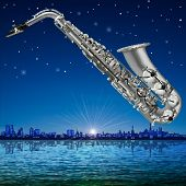 foto of saxophones  - abstract sunrise background with silhouette of Tallinn and saxophone - JPG