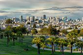 picture of forty-niner  - Beautiful of Dolores Park San Francisco with background Downtown - JPG