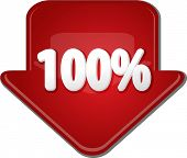 image of 100 percent  - Downward glossy red arrow percent discount one hundred 100 - JPG