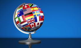 pic of flags world  - Travel services marketing and international business management concept with a school globe and international flags of the world illustration on blue background - JPG