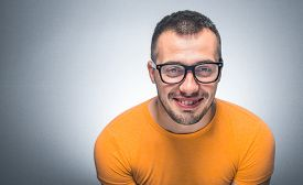 stock photo of nerds  - Smiling funny face - JPG