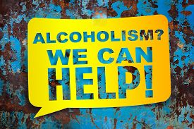 """picture of methadone  - """"Alcoholism we can help"""" yellow banner on a textural background. Design template. - JPG"""