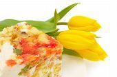 Dessert Fancy Cake And Yellow Tulips