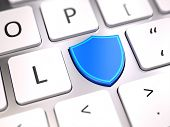 Shield shaped button on computer keyboard - Security and antivirus firewall protection concept. 3d r poster