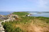 image of samson  - landscape of the ruins of old cottages and the deserted island of samson isles of scilly - JPG
