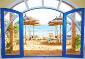 Постер, плакат: номер с видом на пляж