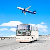 By plane and then by bus