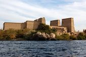image of aswan dam  - The Ancient Egyptian temple  of Philae in the River Nile - JPG