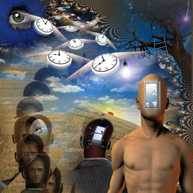 stock photo of dadaism  - High Resolution 3D Illustration Human time and mind elements - JPG