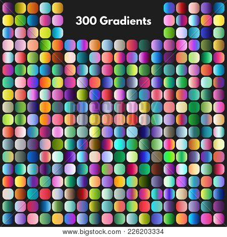 poster of Vibrant Modern Gradient Swatches Vector Set. Illustration Of Color Collection Gradient, Colored Pale
