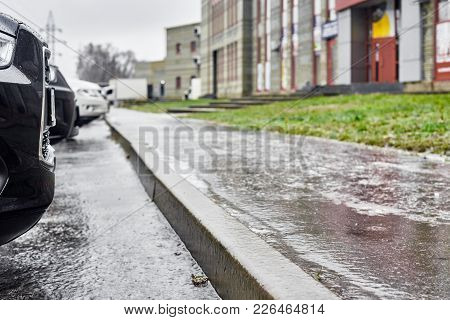Part Of Winter Frost Sidewalk