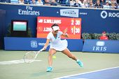 TORONTO: AUGUST 11. Jie Zheng plays against Kim Clijsters in the Rogers Cup 2011 on August 11, 2011