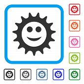 Cog Glad Smiley Icon. Flat Gray Pictogram Symbol In A Blue Rounded Rectangular Frame. Black, Gray, G poster