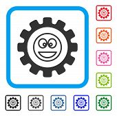 Settings Gear Smile Icon. Flat Grey Pictogram Symbol Inside A Blue Rounded Squared Frame. Black, Gra poster