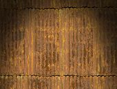 Rusty Corrugated Metal Roof Panels Lit Dramatically
