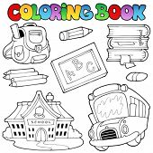 Coloring book school collection 1 - vector illustration.