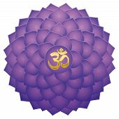 Crown Chakra With Aum Or Om Symbol In The Center. Thousand Petaled Lotus Or Purple Sahasraha. Spirit poster