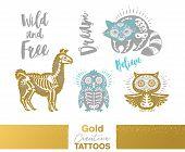 Flash Tattoo Gold, Silver And Blue Sugar Skull Of Penguin, Raccoon, Owl And Llama. Gold Creative Tat poster