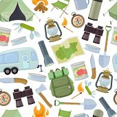 Seamless Pattern Of Travel Equipment. Accessories For Camping And Camps. Colorful Cartoon Illustrati poster