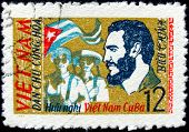 Vintage Stamp With Fidel Castro