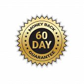 Golden Sign Money Back In 60 Days With Guarantee Template Sticker Isolated Vector Illustration poster