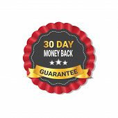 Money Back In 30 Days Guarantee Label Template Isolated Vector Illustration poster