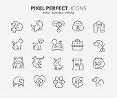 Thin Line Icons Set Of Pets And Veterinary. Outline Symbol Collection. Editable Vector Stroke. 64x64 poster