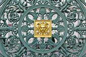 Green Metal Pattern With Golden Element