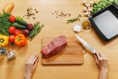 Raw Meat. Fresh Beef Tenderloin On Cutting Board On Wooden Table With Different Vegetables, Spices,  poster