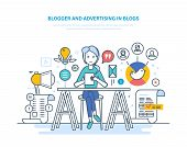 Blogger And Advertising In Blogs. Work In Social Networks, Communicate In Social Services, Create Me poster