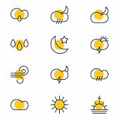 Vector Illustration Of 12 Atmosphere Icons Line Style. Editable Set Of Breeze, Weather, Rainy And Ot poster