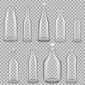 Set Of Realistic Template Of Empty Glass Transparent Bottles For Drinks Of Juice, Milk, With Lids. T poster