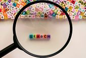 Search Word And Alphabet Letter Beads Enlarged By The Magnifying Glass On White Background For Searc poster