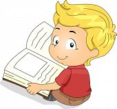 Illustration of a Kid Reading a Book