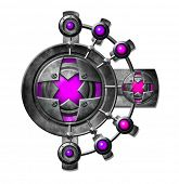 Pink metal button. Panel with buttons for the game interface poster