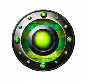 Colored metal button. Button for game interface. Green button poster