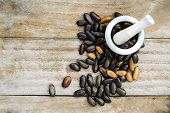 Kidney Beans (also Named As Phasecolus Vulgaris Bean, Or Red Beans) Isolated On Wood Background Top  poster
