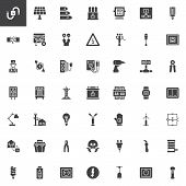 Electrician Elements Vector Icons Set, Modern Solid Symbol Collection, Filled Style Pictogram Pack.  poster